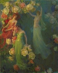 """""""Perfume of Roses"""", 1902 ~ by Charles Courtney Curran (1861-1942) -- as expressed by Curran in the art journal, Palette and Bench, that he and his wife co-edited, the fairy-like figures lived in the air and """"subsist on the perfume o..."""