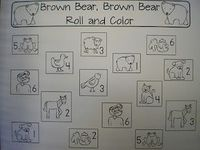 Brown bear roll and color- plus number recognition