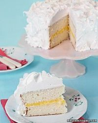 white cake with a layer of lemon curd
