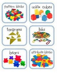 Math Center Labels Preschool Items