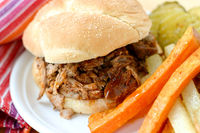 South Carolina Slow Cooker Pulled Pork: A tangy and sweet BBQ sandwich with a subtle hint of heat.