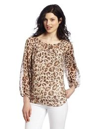 Chaus Women's Watercolor Leopard Peasant Blouse