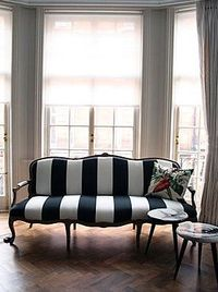 Black And White Striped Sofa For The