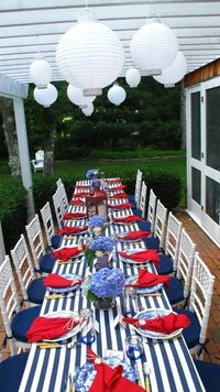 Nautical table or fantastic 4th of July table scape