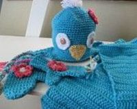 Crochet bird baby set