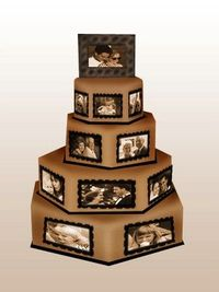 Pictures on your wedding cake, cute idea. i'd love this for the bridal shower!