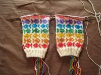 Swedish Fish Socks done in Rainbow by Eleven Stitches (Pattern by Spilly Jane, Ravelry)