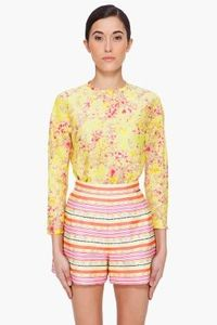 Carven Yellow Bubble Print Blouse for women | SSENSE