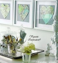 Heart map - Cute for a nursery with mom and dad's birthplace and baby's in the middle