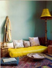 Mustard yellow and blue