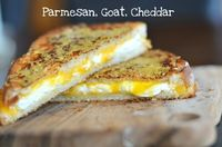 Parmesan, Goat & Cheddar Grilled Cheese via