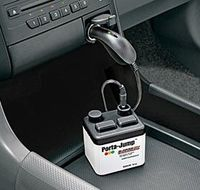 Porta-jump charges the cars dead battery through the light socket! small and very portable. Throw it in the car trunk...such a nice safety net!
