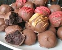Cake Balls...choose your favorite cake mix and frosting and cover in chocolate.