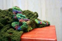 Ruffled Scarf Made from Green Velvet and Boucle Yarns