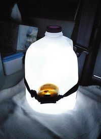 camping fun outdoor ideas It is a gallon milk jug filled with water with a headlamp pointing into the water. Awesome for inside the tent!!