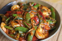 Shrimp stir fry with Red Bell Peppers and Snow Peas