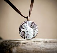 Squirrel Polymer Clay Pendant #jewelry #necklace $12