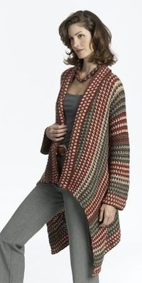 I LOVE THIS!This intermediate crochet pattern creates a long jacket with a fashionable asymmetrical hem. This jacket crochet pattern also features a great pattern of colorful stripes.