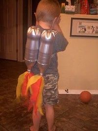 DIY Jet Pack! Spray painted 2-Liter bottles + tissue paper flames! Might make one for myself and just wear it around...