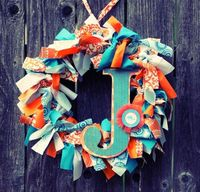 Rag wreath with initial.
