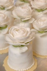 white rose cakettes by Sylvia Weinstock Cakes