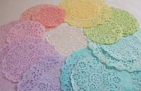 Hand-dyed paper doilies - lovely pastel shades. Would be pretty for so many things.pastel