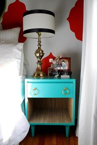 nightstand & lined with grasscloth