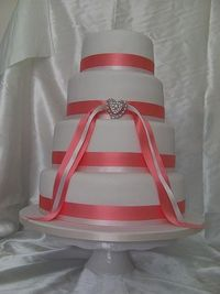 Coral and pink ribbon