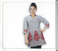 Light Gray Cotton Tunic Hem Rose Flower Embroidered Casual Dress: Clothing
