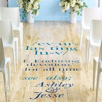 Custom aisle decals instead of aisle runners - use quote from wedding invitation or vows