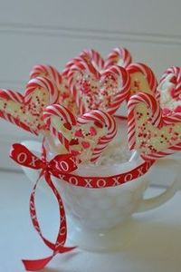Candy cane and white chocolate hearts from leftover Christmas candy!