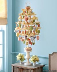 Martha's Easter Tree with Eggs, Rabbits, Chicks and Baskets.