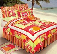 A bedding set in warm tropical colors